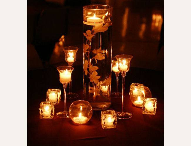 candle stands to create a visual effect