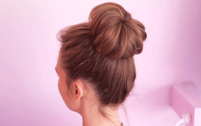 sock bun hair