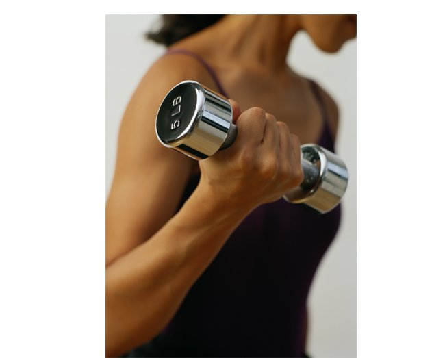 Workout with dumbells