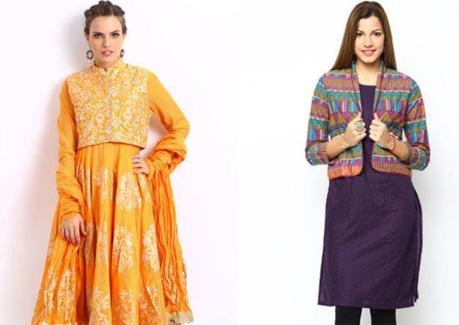 yellow purple kurta with ethnic jacket
