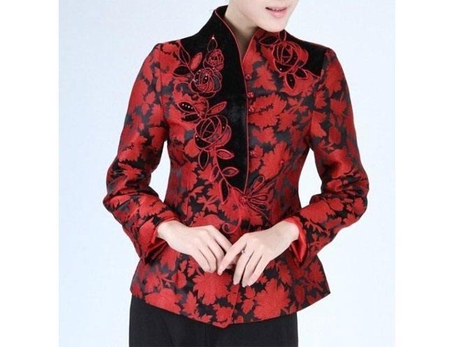 Black Red Chinese Women Silk Satin Jacket