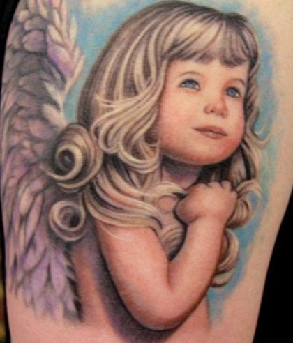 Cute Cherub Kid Tattoo Design