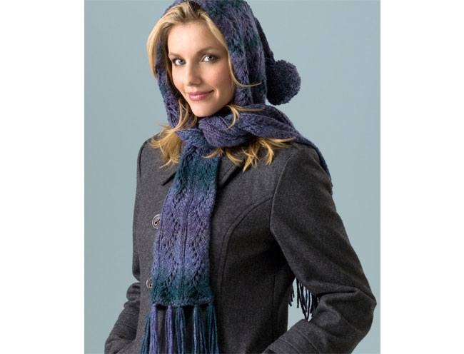 Hooded Lace Scarf Knitting Pattern