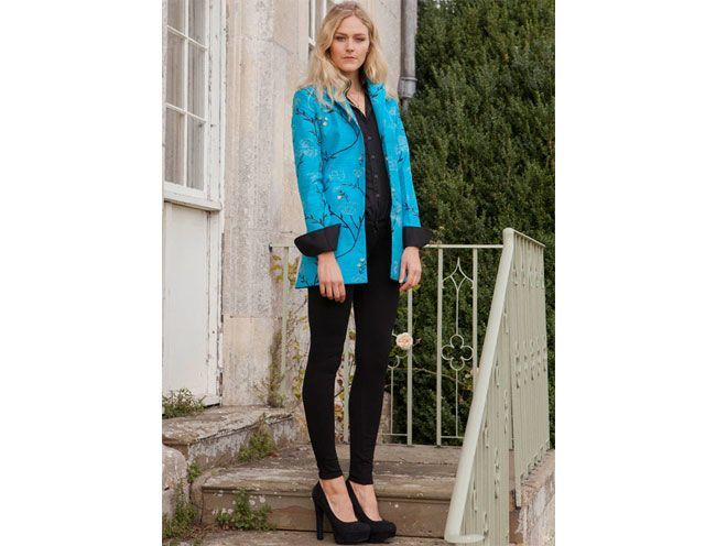 Long European Jacket Brilliant Turquoise