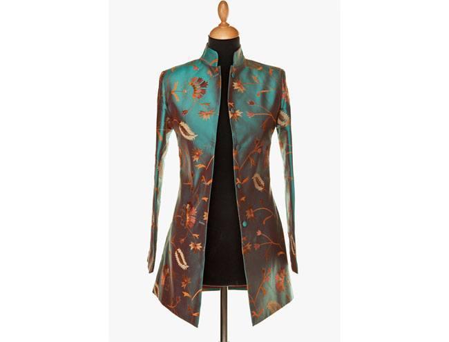 Long Nehru Jacket in Aqua Teal
