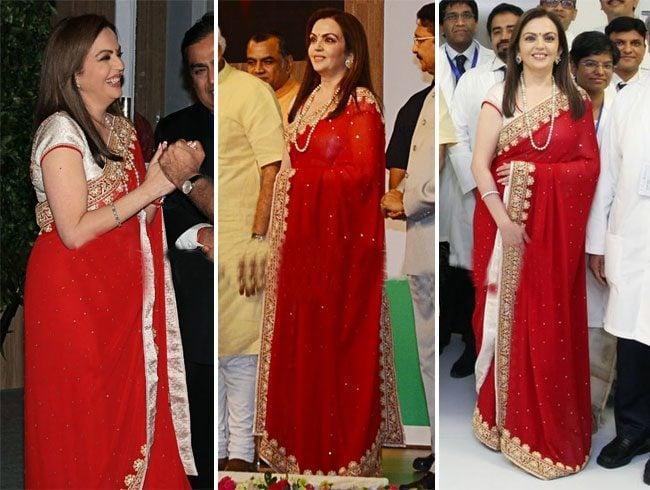 Nita Ambani Red Emboidery Saree