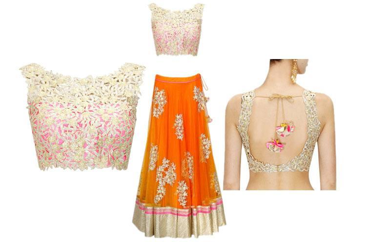 Pink Embroidered cutwork Back & Front Blouse Design