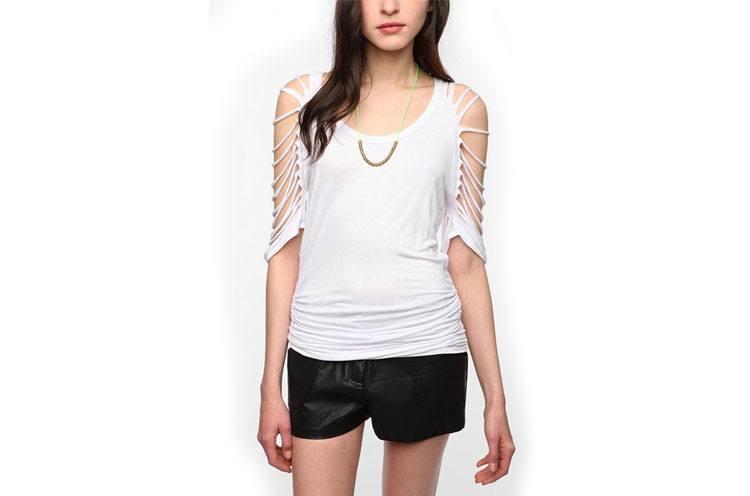 Sparkle and Fade Shredded Sleeve Tunic shirt