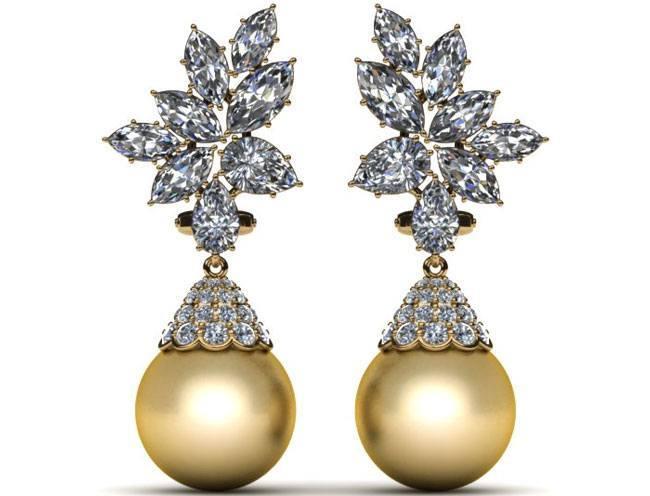 golden south sea pearl earring