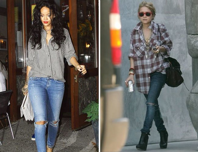 leggings or distressed jeans