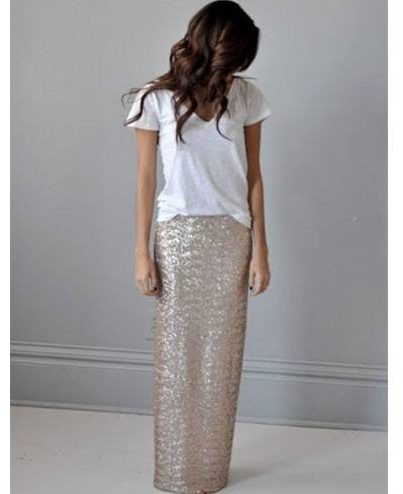 maxi sequined skirt