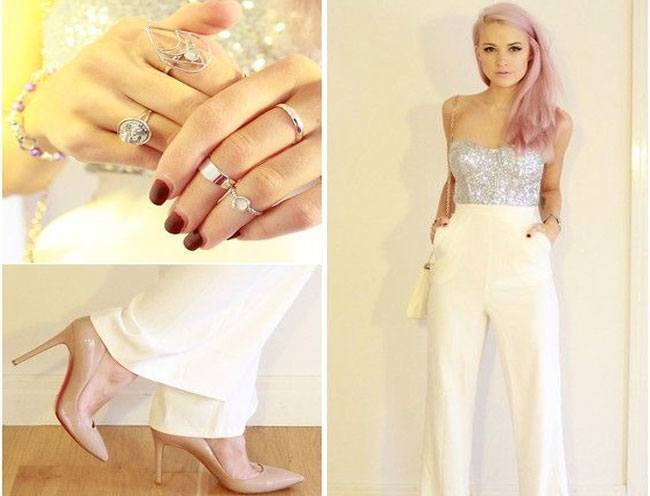nude pumps and some midi rings
