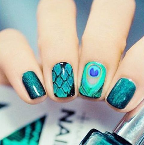 Beautiful Peacock Nail Arts
