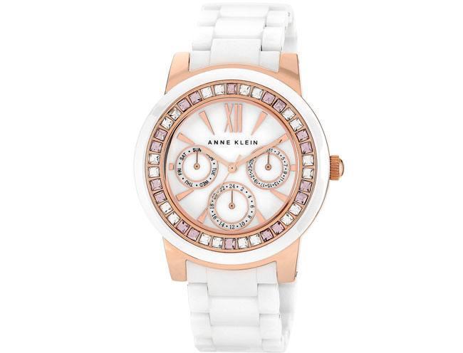 Anne Klein Women's White Ceramic Bracelet Watch