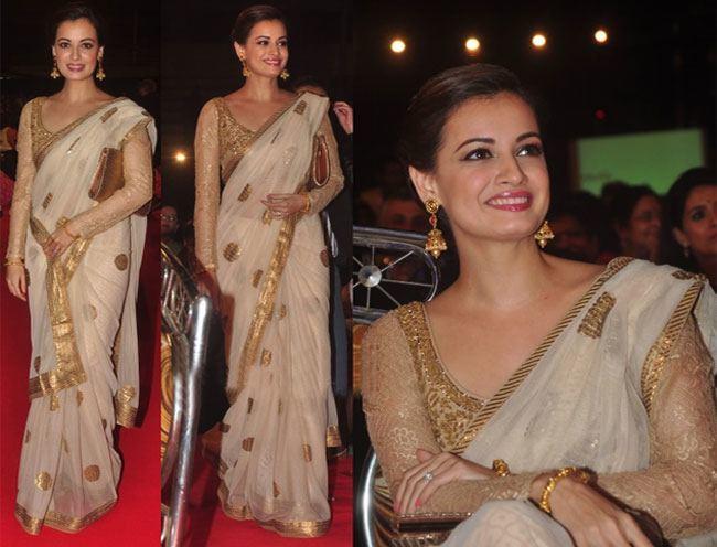 Dia Mirza looks angelic in a sari