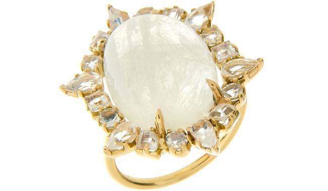 Gold Ruffled Cocktail Ring Moonstone