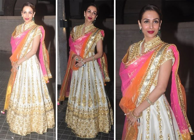 Malaika Arora wore a cream and gold Preeti S Kapoor floor length anarkali