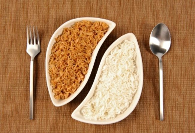 White rice and brown rice