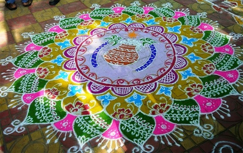 Pongal pot rangoli designs