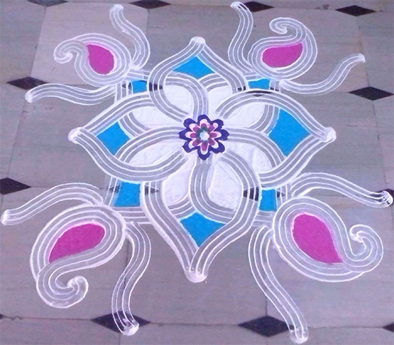 Pongal rangoli with lines