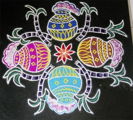 Sankranthi pot rangoli designs