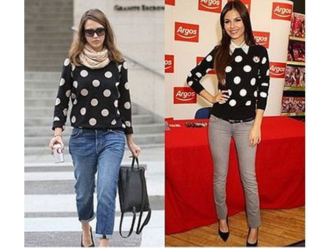 Big chunks of polka dots on sweater