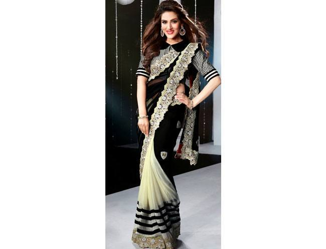 Black And Off-white Cocktail Saree