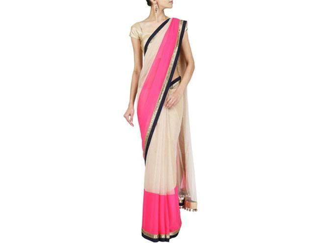 Cocktail Beige Embroidered Sari by Manish Malhotra