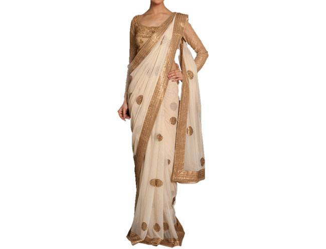 Cocktail Beige Embroidered Sari by Ritu Kumar