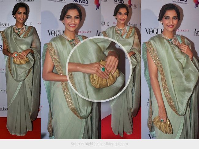 Gorgeous Sonam Kapoor in Mint Colour Vintage Saree