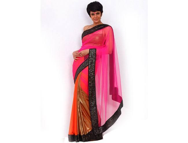 Pink Net Saree with a Black Sequin Border by Mandira Bedi