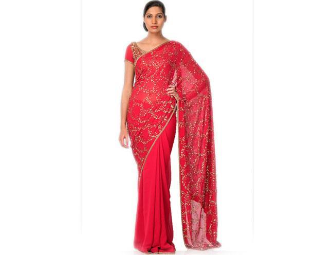 Red Cloud Sprinkle Saree by Nakul Sen