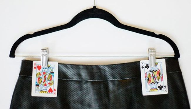 Use cards to hang skirts
