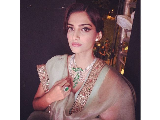 coloured Anamika Khanna saree for Sonam Kapoor