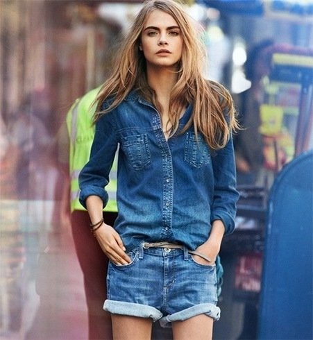 Double denim shorts