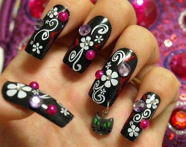 Black Nail Art Step by Step