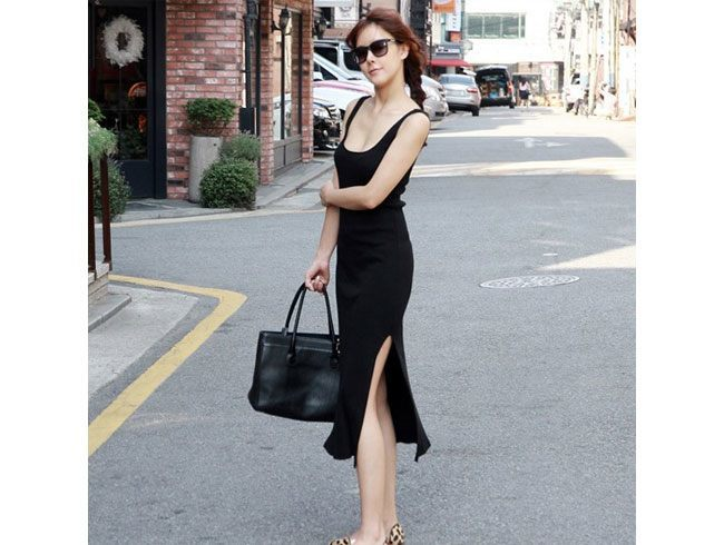 Black Noodle Strap Dress