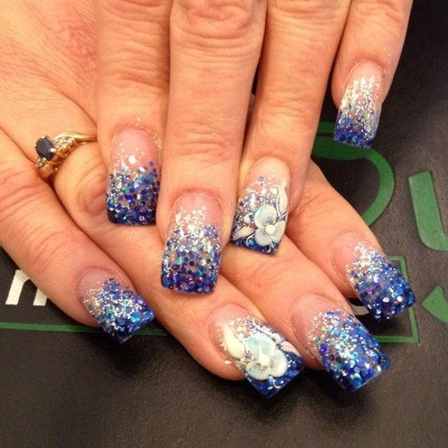 Blue Glitter Fading 3D Flower Nail Art Design