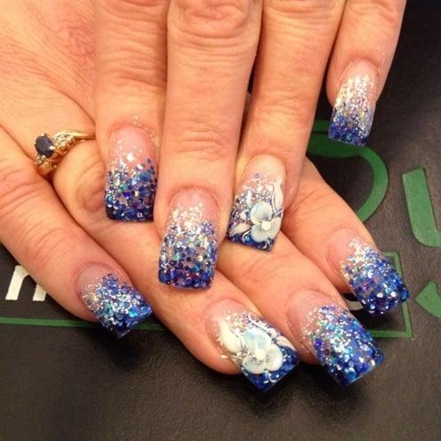 Blue Glitter Fading 3D Flower Nail Art Design