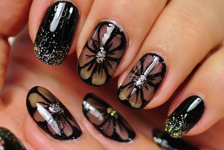 Butterflies and Flowers nail art