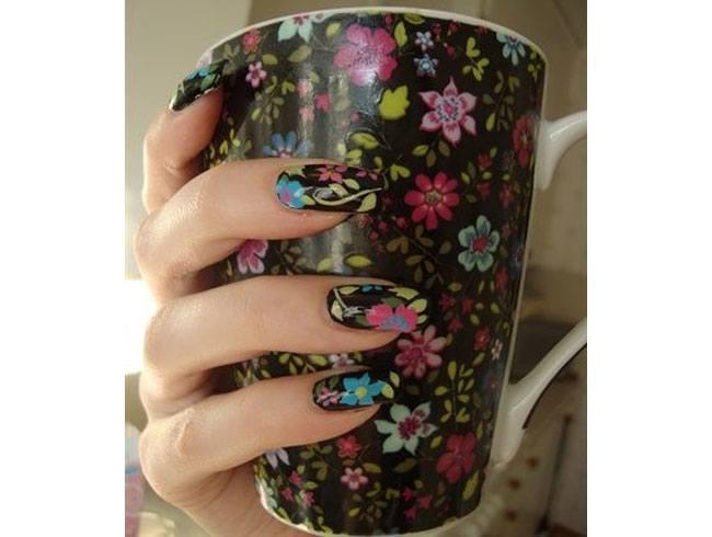 Floral Mug Inspired Nail Art