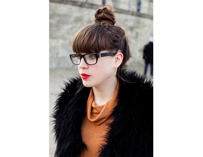High bun with glasses