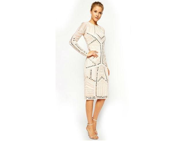 Mirror Lace Bodycon Dress in Pure White