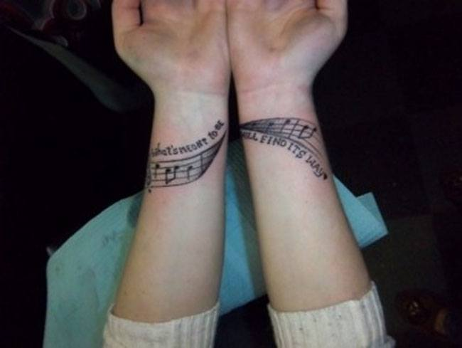 Musical wrist tattoo