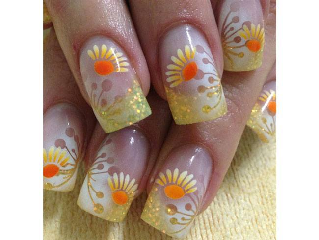 Sunflower Nail Art Designs
