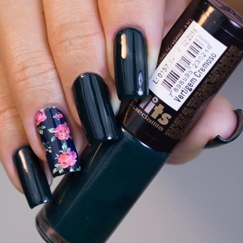 black lacquered nail art