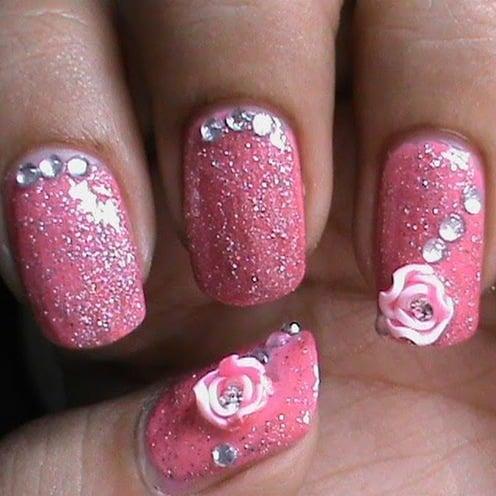 glitter ink rose nail art