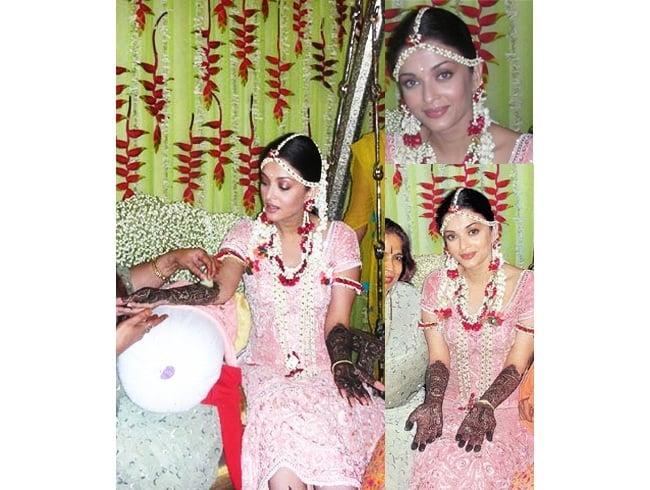 Aishwarya Rai in Floral jewellery for mehndi