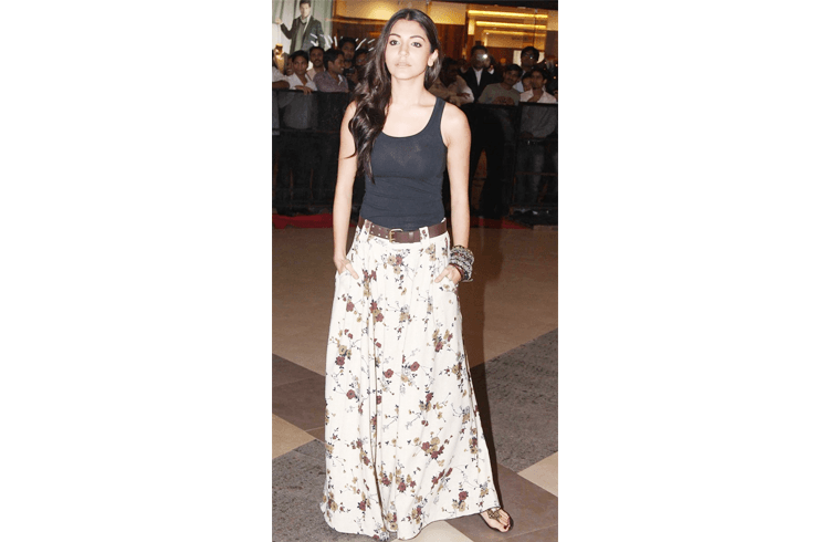 Anushka Sharma in floral skirt with a black top