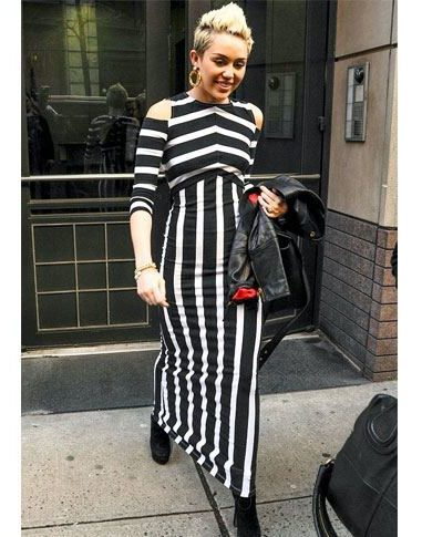 Clothes with vertical stripes and details